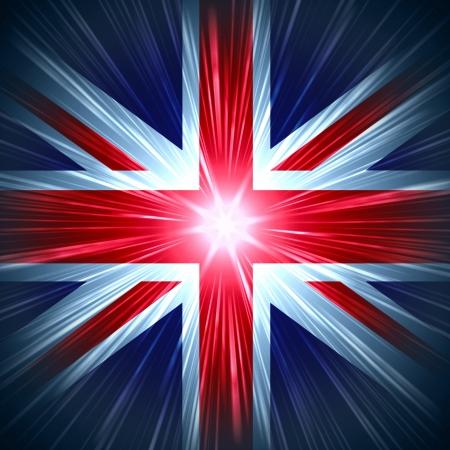 bandiera inghilterra: Britannica Union Jack bandiera nazionale con raggi di luce Archivio Fotografico