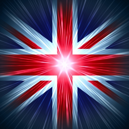 British Union Jack national flag with light rays photo