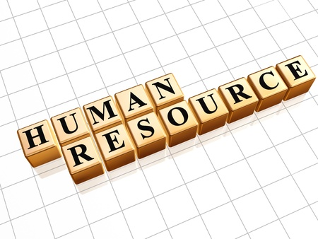 human resource management: Human resource 3d golden boxes with text Stock Photo