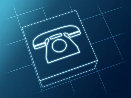repondre au telephone: signe T�l�phone fil incandescent sur la bo�te et net Banque d'images