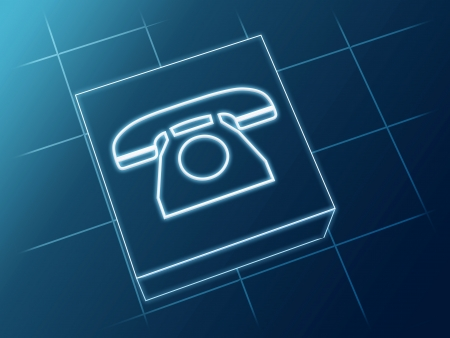 wire glowing Phone sign over box and net Stock Photo - 14513235