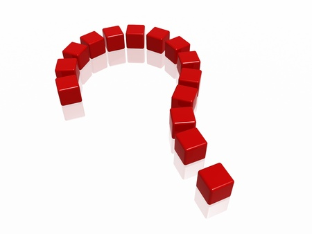 3d red boxes arranged like question sign Stock Photo - 14513234