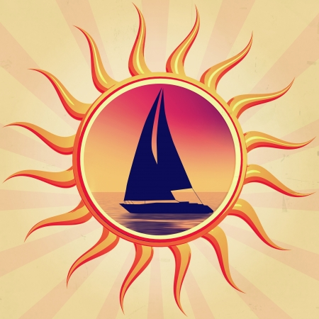 retro illustration of sun with boat silhouette  illustration