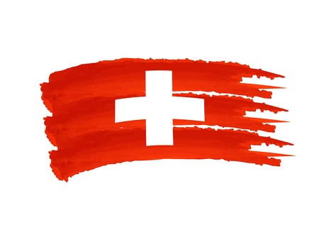 Illustration of Isolated hand drawn Swiss flag illustration