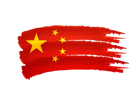 Illustration of Isolated hand drawn China flag illustration