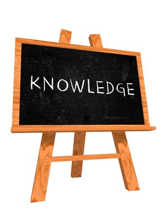 3d isolated wooden blackboard with text - knowledge Stock Photo