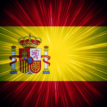 Abstract background Spanish national flag with light rays photo