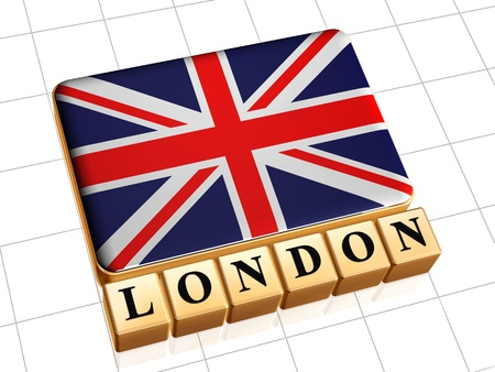 3d golden boxes with UK flag and text London photo