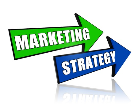 new development: marketing strategy blue and green 3d arrows