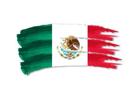 bandera de mexico: Ilustraci�n de la mano aislada elaborado bandera mexicana