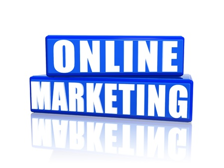 online marketing 3d blue boxes with white text Stock Photo - 14513257