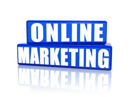 web commerce: Online Marketing scatole 3d blu con testo bianco
