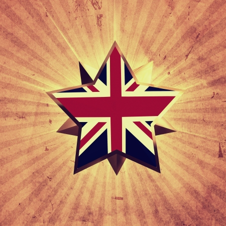 golden 3d star with UK flag over old paper with rays Stock Photo - 14513273