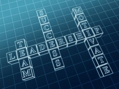 3d crossword - leadership; team, motivate, success Stock Photo - 14717746