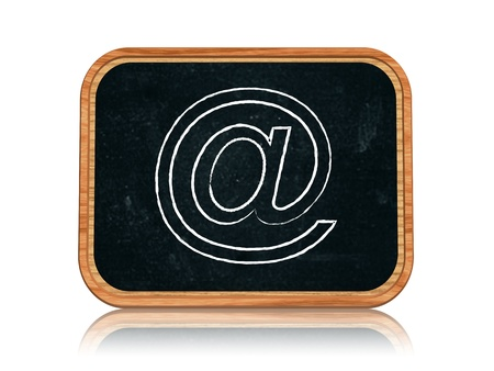 3d blackboard banner with chalk email sign Stock Photo - 14717742