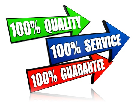 satisfied: 100 percents quality, service guarantee over 3d arrows