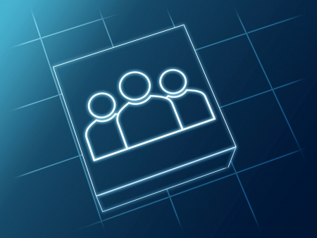 wire glowing Group sign over box and net Stock Photo