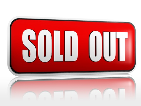 out of production: Sold out red 3d banner with white text