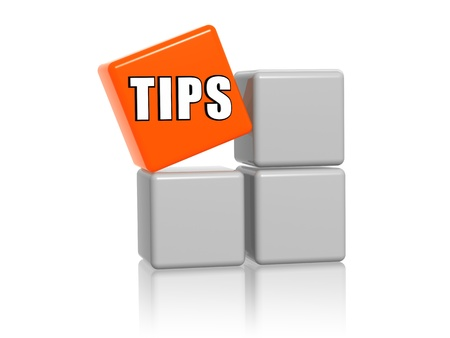 hint: Tips – 3d white and orange boxes with text