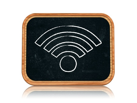 wep: 3d blackboard banner with chalk Wi-Fi sign Stock Photo