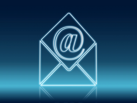 wire white 3d glowing email and envelope sign Stock Photo - 14974387