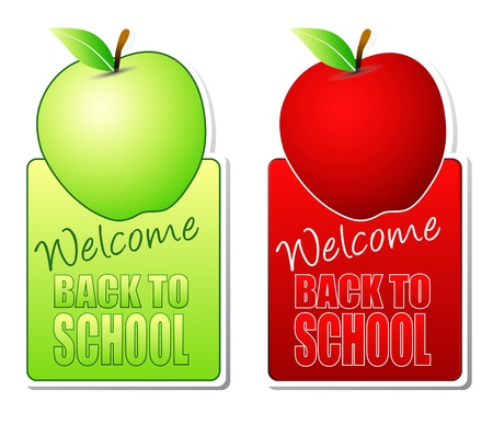 welcome back to school green and red labels photo