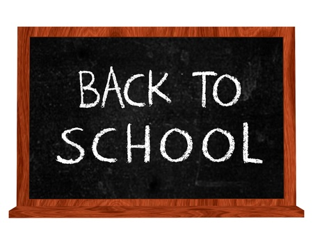 back to school 3d isolated blackboard with chalk text photo