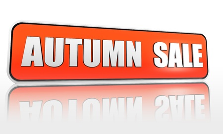 autumn sale 3d orange banner with white text photo