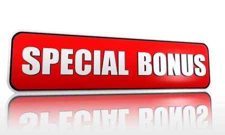 extra money: special bonus 3d red banner with white text Stock Photo