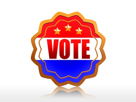 starlike: 3d golden badge with word vote and national colors