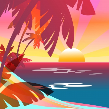 summer party: Summer background with sunset, sea, and island