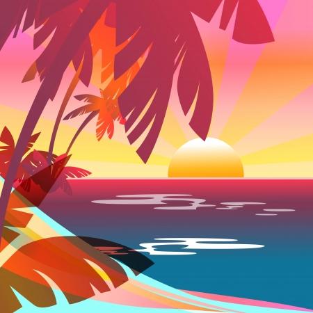 invitacion fiesta: Verano de fondo con la puesta del sol, el mar y la isla
