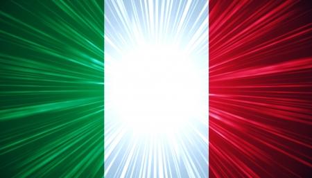 the italian flag: Bandera italiana con luz de fondo abstracto rayos