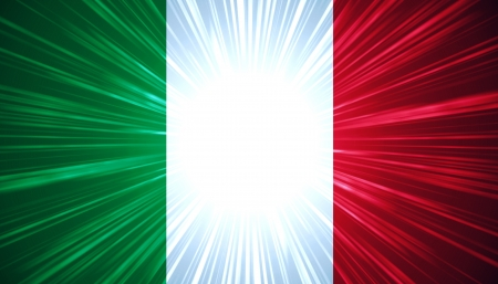 Italian flag with light rays abstract background photo