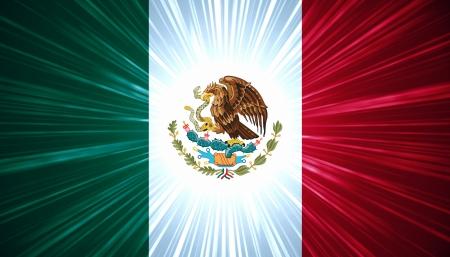 bandera mexicana: Bandera mexicana con luz de fondo abstracto rayos Foto de archivo