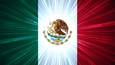 Mexican flag with light rays abstract background photo