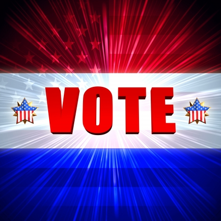 3d word vote with shining american flag and stars photo