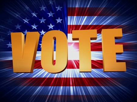 3d golden word vote with shining american flag photo