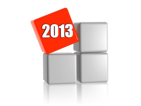 3d red cube with ciphers 2013 on grey boxes Stock Photo - 15274296