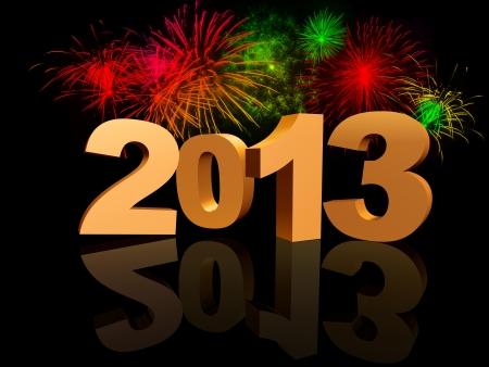 turns of the year: 2013 de oro con la reflexi�n y fuegos artificiales de colores