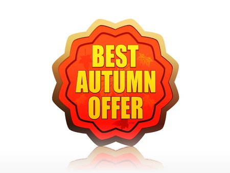 starlike: best autumn offer - golden starlike label with text Stock Photo