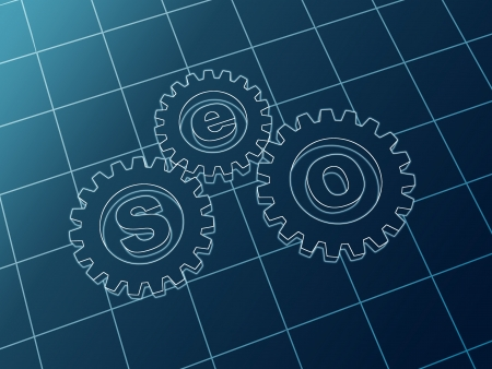3d blue cam-gears with letters SEO Stock Photo - 15274344
