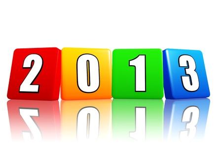 turns of the year: 3d cubos de colores con figuras blancas como cifras - a�o 2013 Foto de archivo