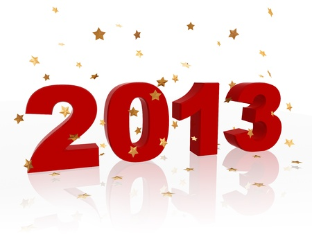 3d color figures like ciphers makes year 2013 with golden stars Stock Photo - 15354671