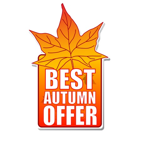 best autumn offer - orange label with text and leaf photo