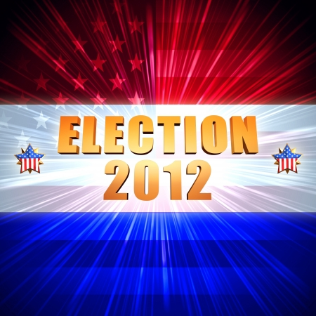 3d word election and year 2012 with shining american flag and stars photo