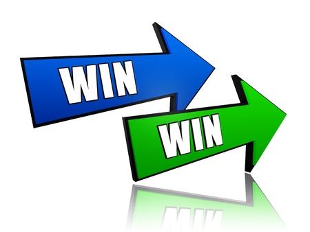 ganar: ganar ganar en 3D flechas de colores con el texto
