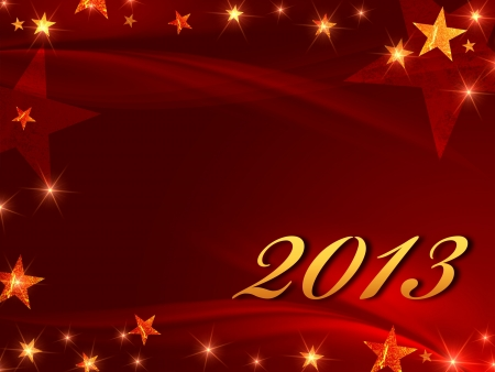year 2013 over red background with golden stars photo