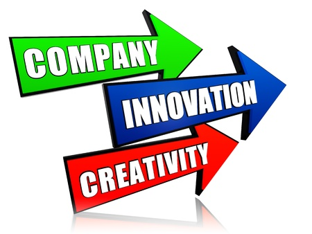 headway: company, innovation and creativity in 3d colorful arrows with text Stock Photo