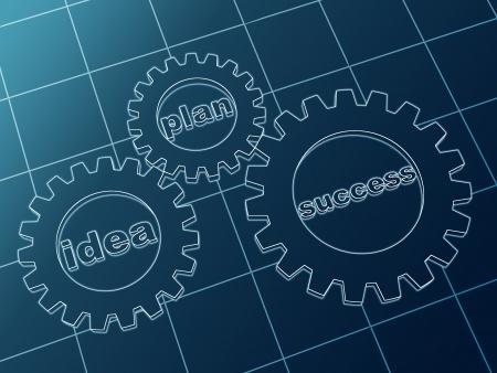 resourceful: idea, plan, success - words in 3d blue cam-gears